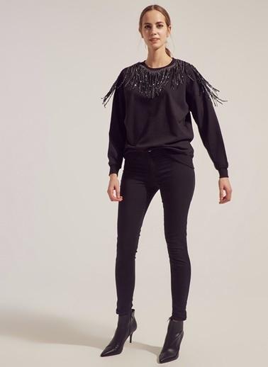 Monamoda Sarkık Payet Detaylı Loose Fit Sweatshirt Siyah